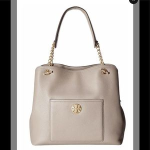 Tory Burch Chelsea Slouchy Gray Heron Leather Tote